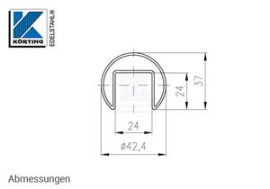 Edelstahl Nutrohr 42,4 x 1,5 mm, Abmessungen