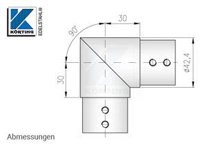 Nutrohrverbinder 90° für Nutrohr 42,4 x 1,5 mm - Abmessungen