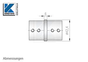 Rohrverbinder für Nutrohr 42,4 x 1,5 mm - Abmessungen