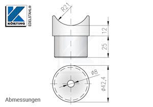 Edelstahl Rohraufnahme zum Einkleben in Rohr 42,4x2,0 mm mit Fräsung für Rohr 42,4 mm - Abmessungen