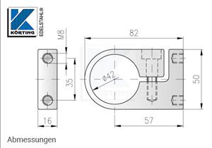 Rohrklemmbefestigung für Rohr 42,4 mm - Abmessungen