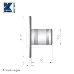 Edelstahl Ronde mit Rohrhülse für Rohr 42,4x2,0 mm - Abmessungen