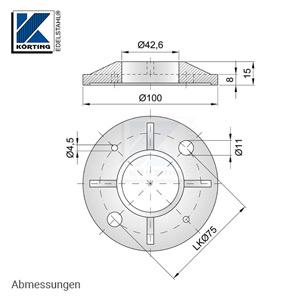 Abmessungen Edelstahl Ronde 100x8 mm aus Guss mit Versteifungsrippen und Bund zum rückseitigem Verschweißen von Edelstahlrohr 42,4 mm