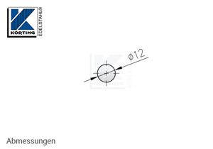 Edelstahl Rundmaterial 12 mm Korn 600 geschiffen - Abmessung