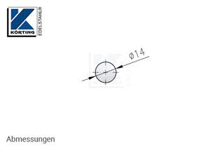 Edelstahl Rundmaterial 14 mm Korn 600 geschiffen - Abmessung