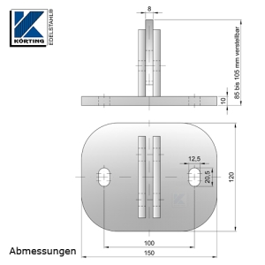 Ankerplatte aus Edelstahl 150x120x10 mm - Abmessungen