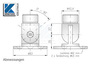 Wandanschluss - Ronde aus Edelstahl mit Gelenk - Abmessungen
