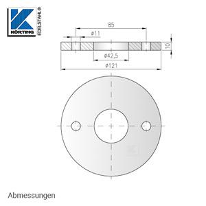 Abmessungen Edelstahl Ronde 121x10 mm
