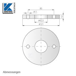 Abmessungen Edelstahl Ronde 121x12 mm