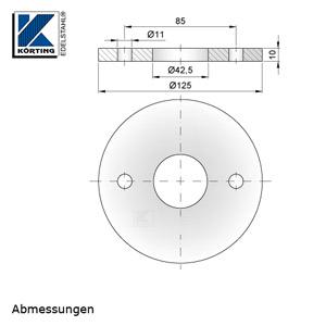 Abmessungen Edelstahl Ronde 125x10 mm