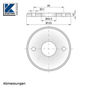 Abmessungen Edelstahl Ronde 125x10 mm mit 45° - Fase, zum rückseitigen Verschweißen von Rohr 42,4 mm mit 3 Langlöchern zur einfachen Montage mit Gewindestangen M10