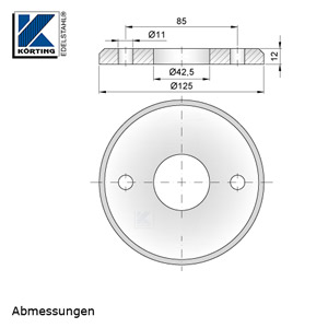 Abmessungen Edelstahl Ronde 125x12 mm mit Fase