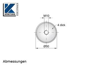 Edelstahlronde mit M10 für die Montage von Pfosten aus Edelstahl mit Distanzstücken bei Pfostenbefestigungen
