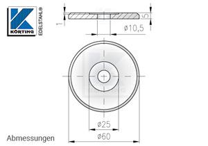 Edelstahl Ronde ø60x5 mm mit Loch + Vertiefung - Abmessungen