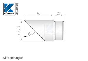 Endkappe 45°schräg für Edelstahl Handlauf 42,4x2,0 mm - Abmessungen