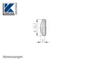 Endkappe für Edelstahlrohr 33,7x2,0 mm, gewölbt, massiv, zum Verschweißen - Abmessungen