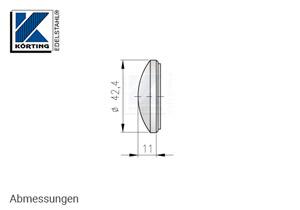 Endkappe für Edelstahlrohr 42,4 mm, gewölbt, massiv, zum Verschweißen - Abmessungen