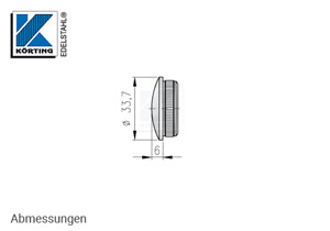 Endkappe aus Edelstahl in Edelstahlrohr 33,7x2,0 mm - Abmessungen