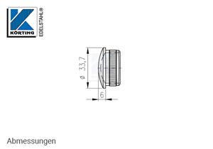 Endkappe leicht gewölbt aus Hohlguss mit Rändelung für Edelstahlrohr 33,7x2,0 mm - Abmessungen