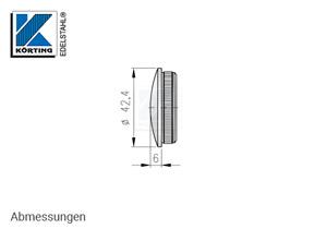 Endkappe aus Edelstahl in Edelstahlrohr 42,4x2,6 mm - Abmessungen