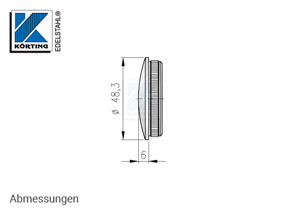 Endkappe aus Edelstahl in Edelstahlrohr 48,3x3,6 mm - Abmessungen
