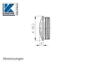 Endkappe leicht gewölbt aus Hohlguss mit Rändelung für Edelstahlrohr 48,3x2,0 mm - Abmessungen
