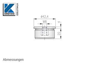 Endkappe, gerade mit Innengewinde M8  - Abmessungen