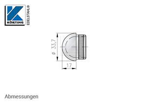 Endkappe halbrund aus Hohlguss mit Rändelung für Edelstahlrohr 33,7x2,0 mm - Abmessungen