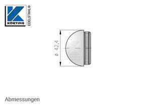 Endkappe halbrund, aus Edelstahl für Edelstahlrohr 42,4x2,6 mm - Abmessungen