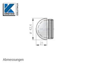 Endkappe halbrund aus Hohlguss mit Rändelung für Edelstahlrohr 42,4x2,0 mm - Abmessungen