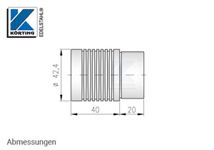 Endkappe mit Rillen für Edelstahl Handlauf 42,4x2,0 mm - Abmessungen