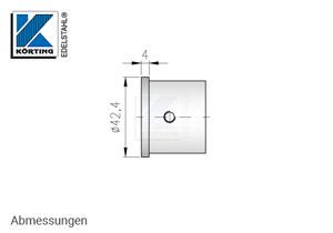 Endkappe für Nutrohr 42,4 x 1,5 mm - Abmessungen