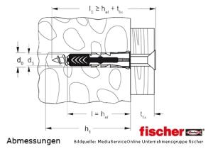 fischer DUOPOWER - 2-Komponentendübel - Abmessungen