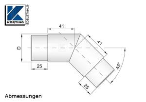 Rohrbogen 45° Gehrung zum Einkleben in Rohr 42,4x2,0 mm - Abmessungen