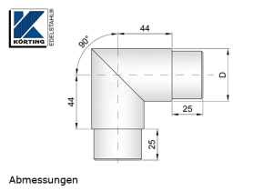 edelstahl rohrbogen 90 f r edelstahlrohr 42 4x2 0 mm v4a. Black Bedroom Furniture Sets. Home Design Ideas
