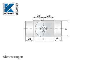 Rohrverbinder mit Gelenkzum Einkelben in Rohr 42,4x2,0 mm - Abmessungen