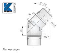 Gelenkbogen aus Edelstahl für Edelstahlrohr ø 42,4x2,0 mm - einstellbar von 0°-45° - Abmessungen