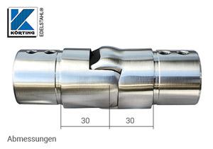 Gelenkverbinder nach oben für Nutrohr - Abmessungen