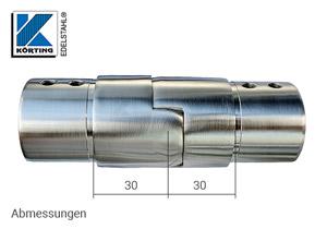 Gelenkverbinder nach unten für Nutrohr - Abmessungen