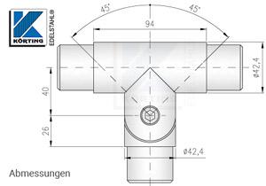 Rohrverbinder T-Stück mit Gelenk für Rohr 42,4x2,0 mm - Abmessungen