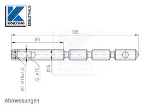 Gewindeanker aus Edelstahl mit Innengwinde M10, 195 mm lang - Abmessungen