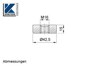 Gewindesscheibe aus Edelstahl mit Innengewinde M16 - Abmessungen
