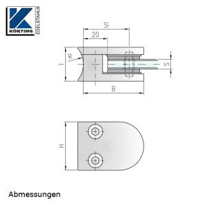 Glasklemmhalter aus Edelstahl, halbrund 40x50x28 mm Rundrohr-Anschluss - Abmessungen