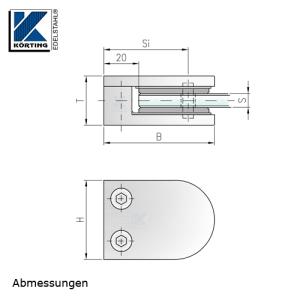 Glasklemmhalter aus Edelstahl, halbrund 45x63x28 mm  gerader Anschluss - Abmessungen