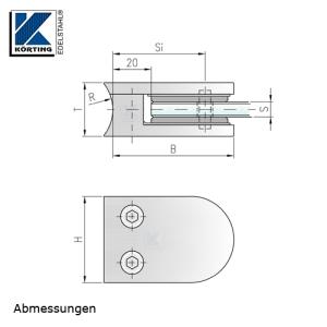Glasklemmhalter aus Edelstahl, halbrund 45x63x28 mm  für Rundrohr-Anschluss - Abmessungen