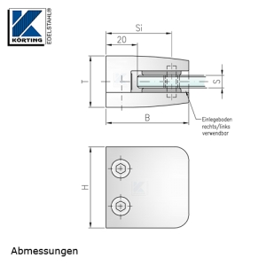 Glasklemmhalter aus Edelstahl, viereckig 53x53 mm, gerader Anschluss - Abmessungen