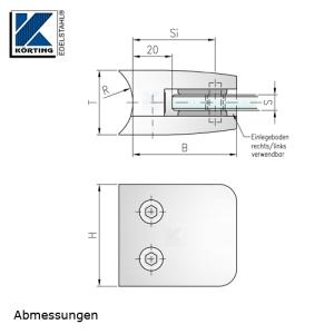 Glasklemmhalter aus Edelstahl, viereckig 53x53 mm, Rundrohr- Anschluss - Abmessungen