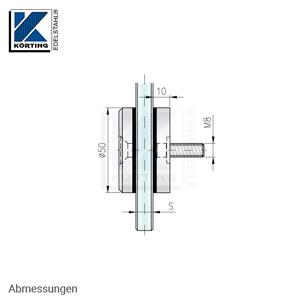 Glaspunkthalter mit Senkschraube D50 - Abmessungen