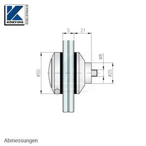 Glaspunkthalter mit Zierschraube D50 - Abmessungen