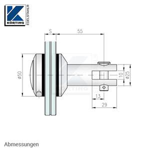 Glaspunkthalter mit Zierschraube D50 mit Gabelanschluß für Wandanker - Abmessungen